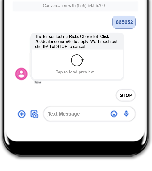 Consumer view of text interface to get prequalification score
