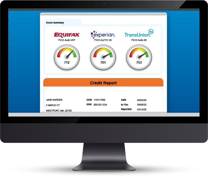 Credit Report on Desktop Monitor